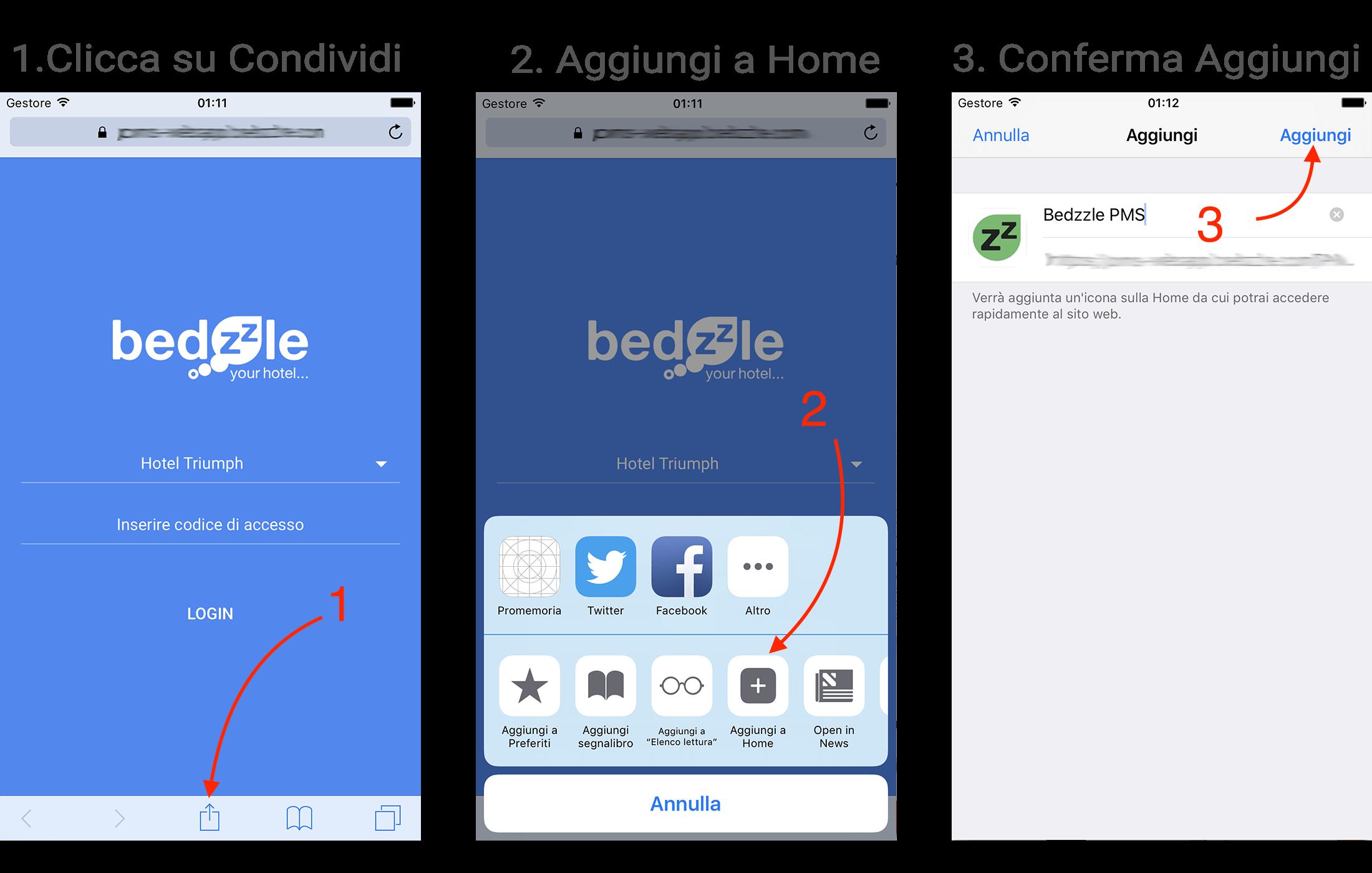 Bedzzle PMS GO link accesso Aggiungi a schermata Home Safari Iphone e Ipad